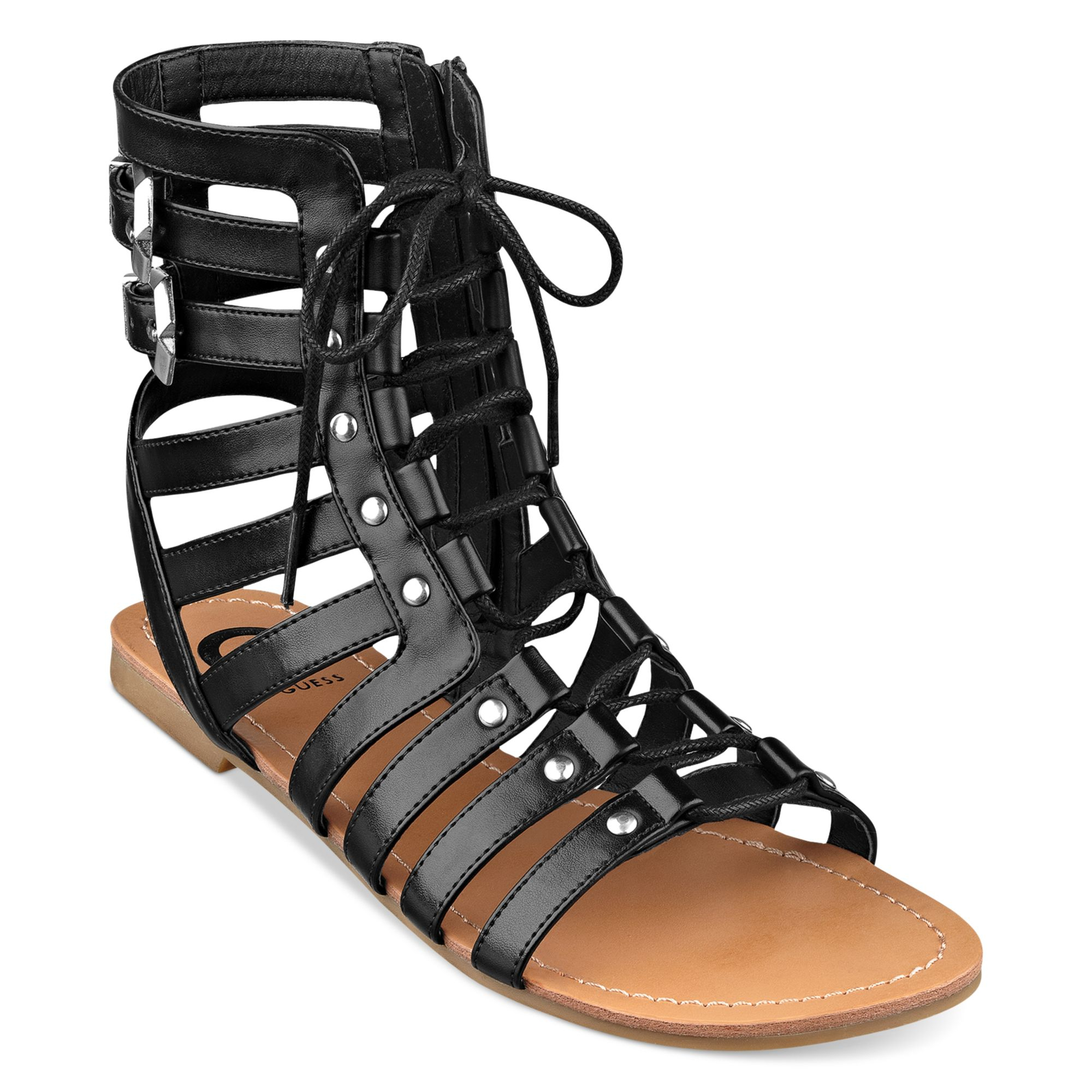 G By Guess Womens Holmes Gladiator Sandals In Black Lyst