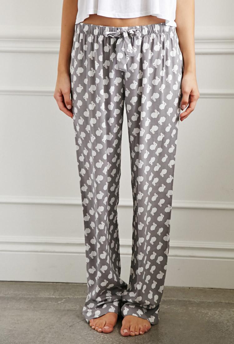 forever 21 bunny print pj pants in gray lyst