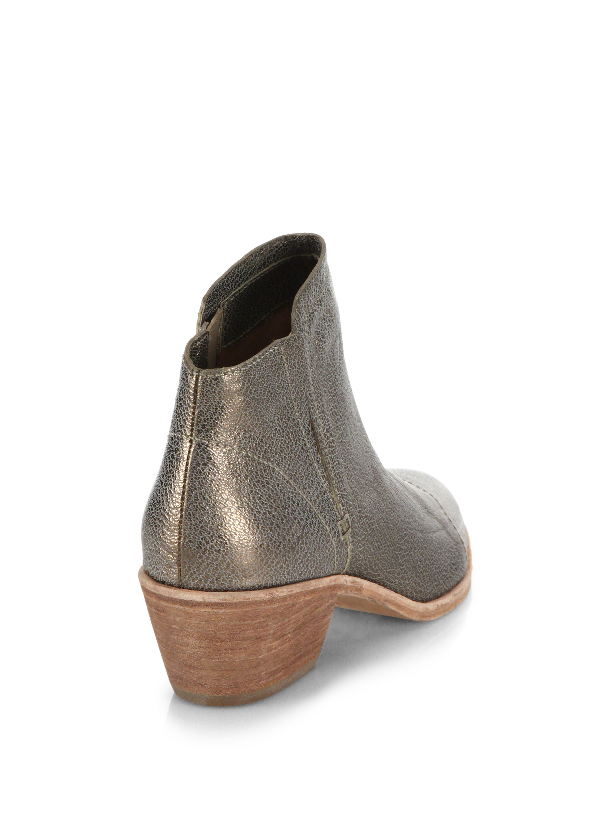 Metallic Leather Boots : Joie jodi metallic leather ankle boots in lyst