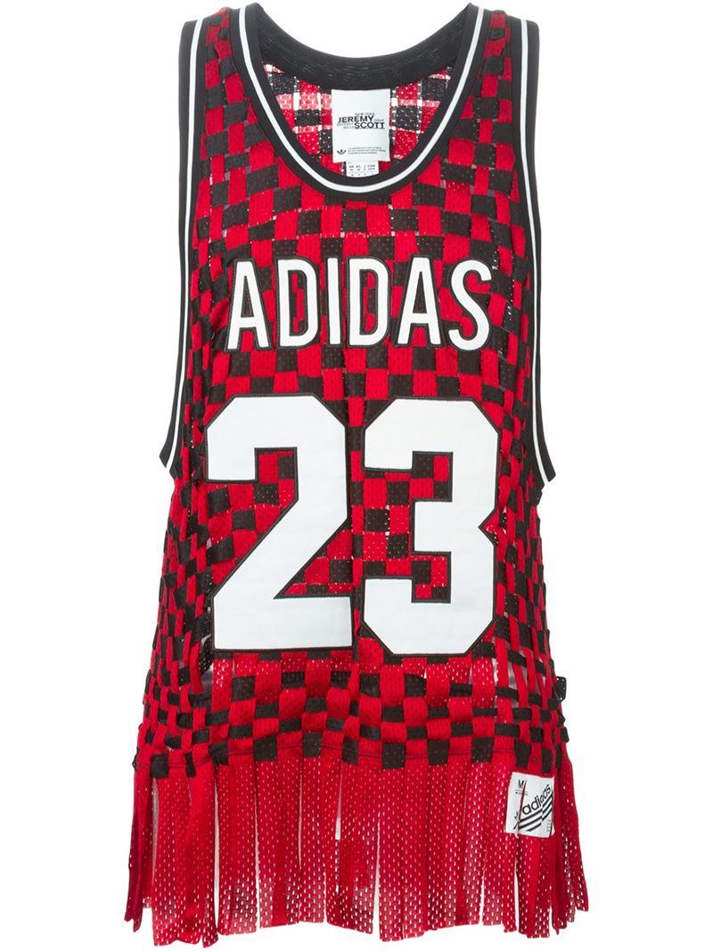 12.240 lyst adidas originali x jeremy scott basket top in rosso