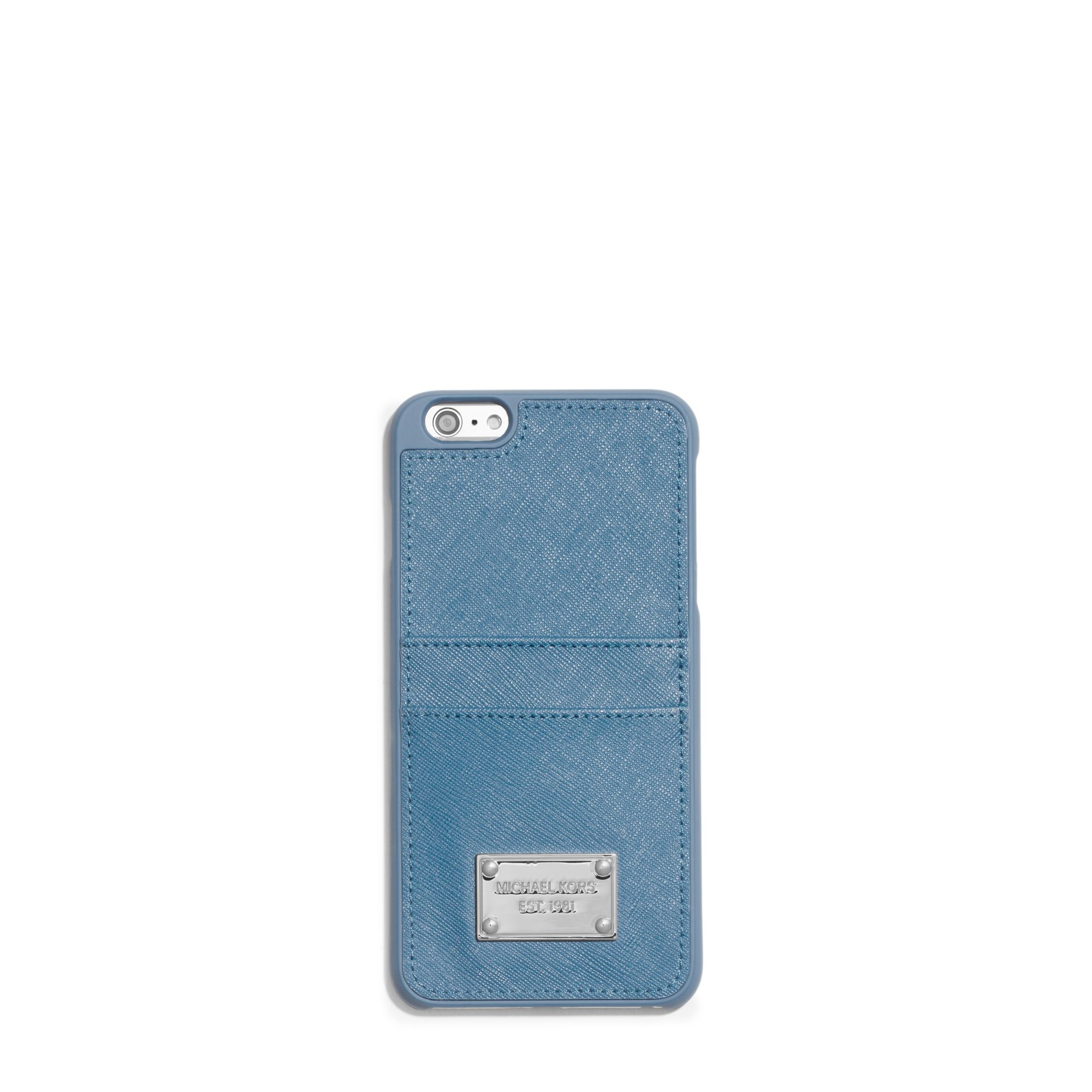 Michael kors Saffiano Leather Pocket Smartphone Case in Blue : Lyst