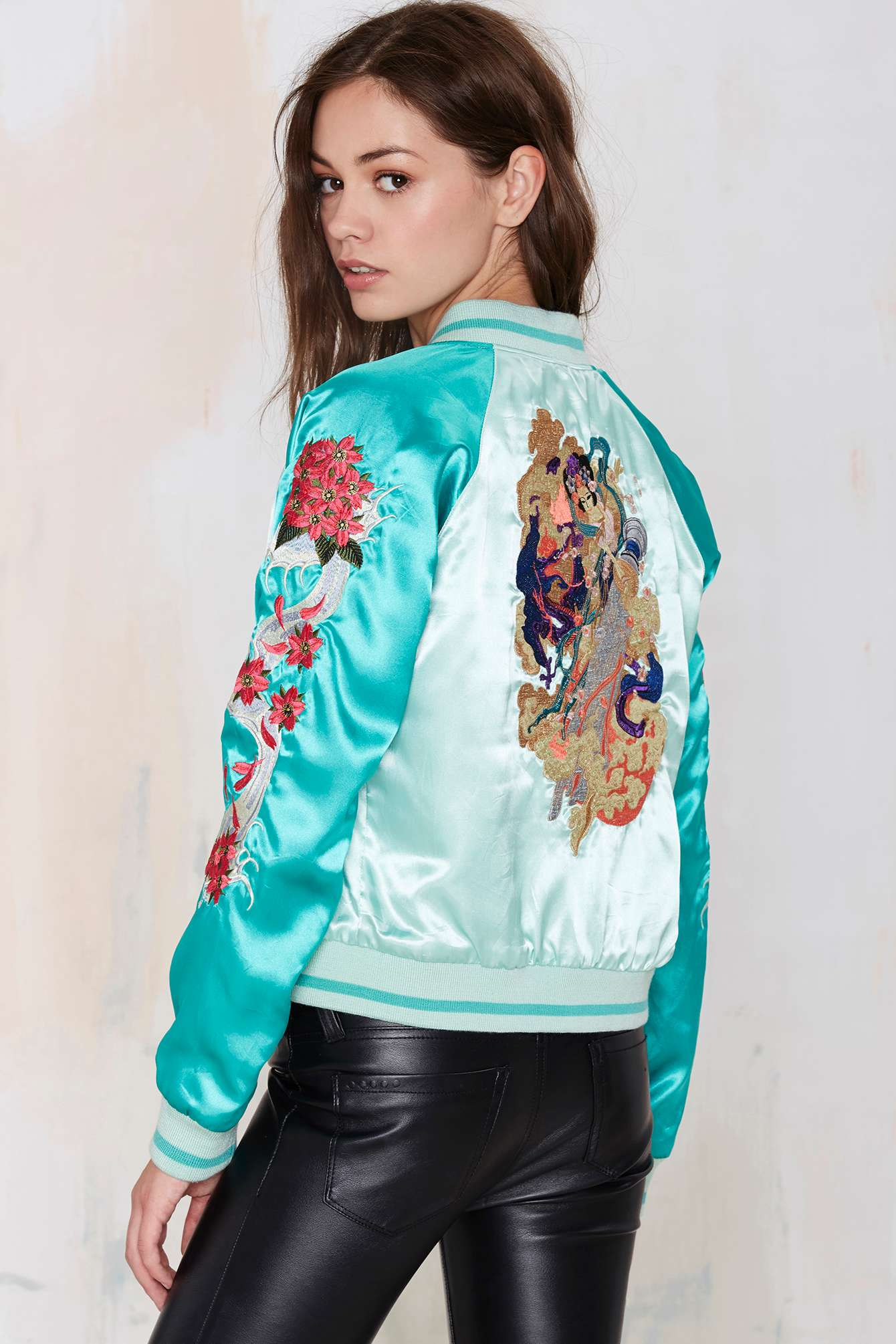 Nasty gal vintage chinatown embroidered reversible varsity