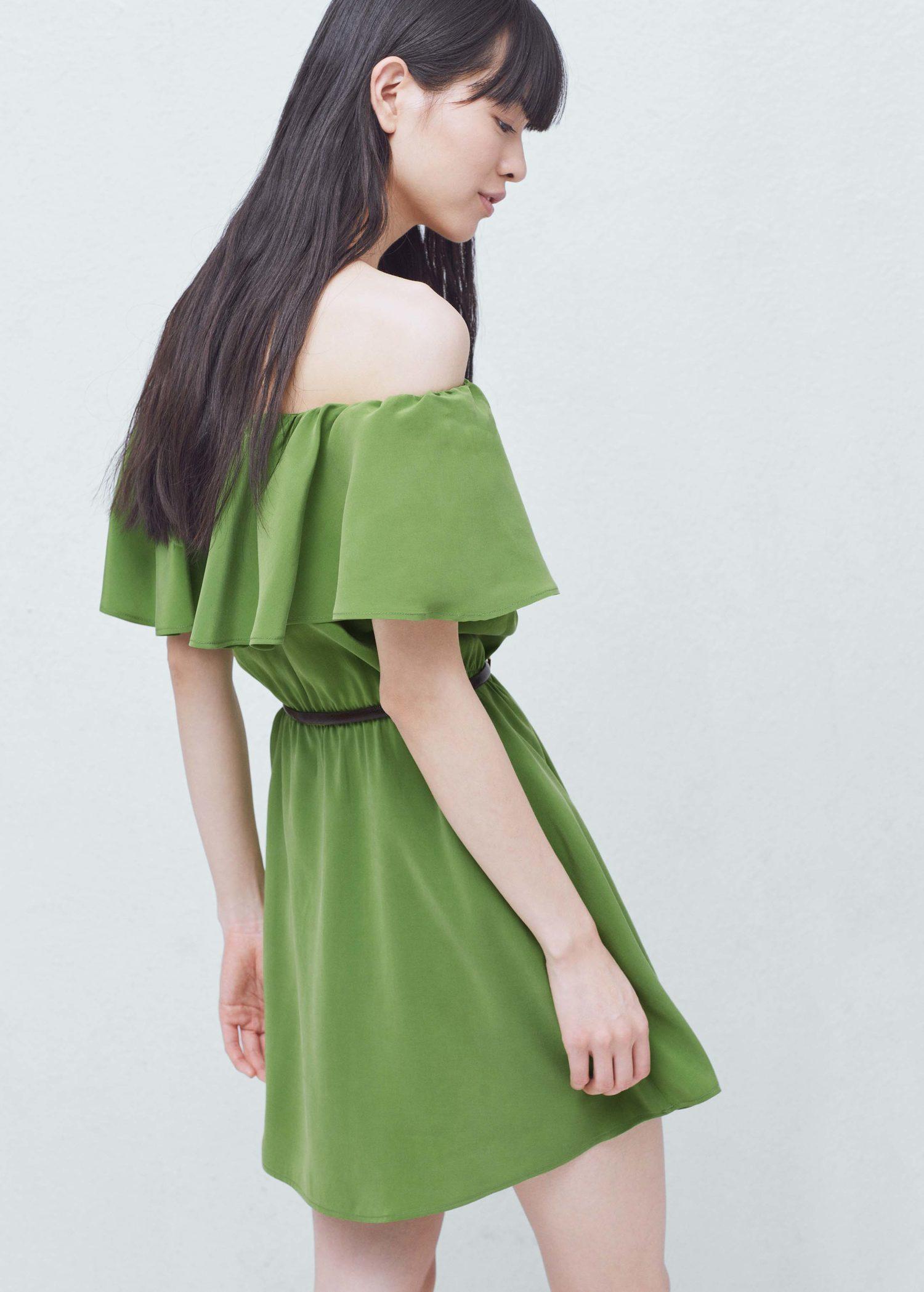 Lyst mango frilled belt dress in green for Apple green dress shirt