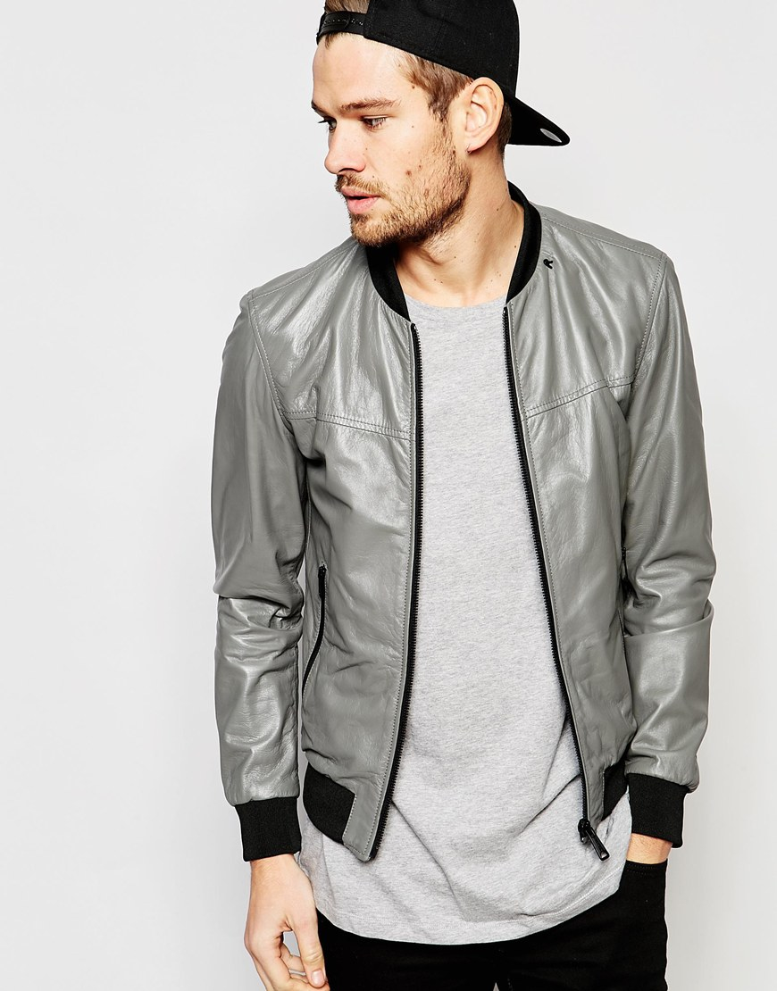 Replay Leather Bomber Jacket Zip Front in Gray for Men | Lyst
