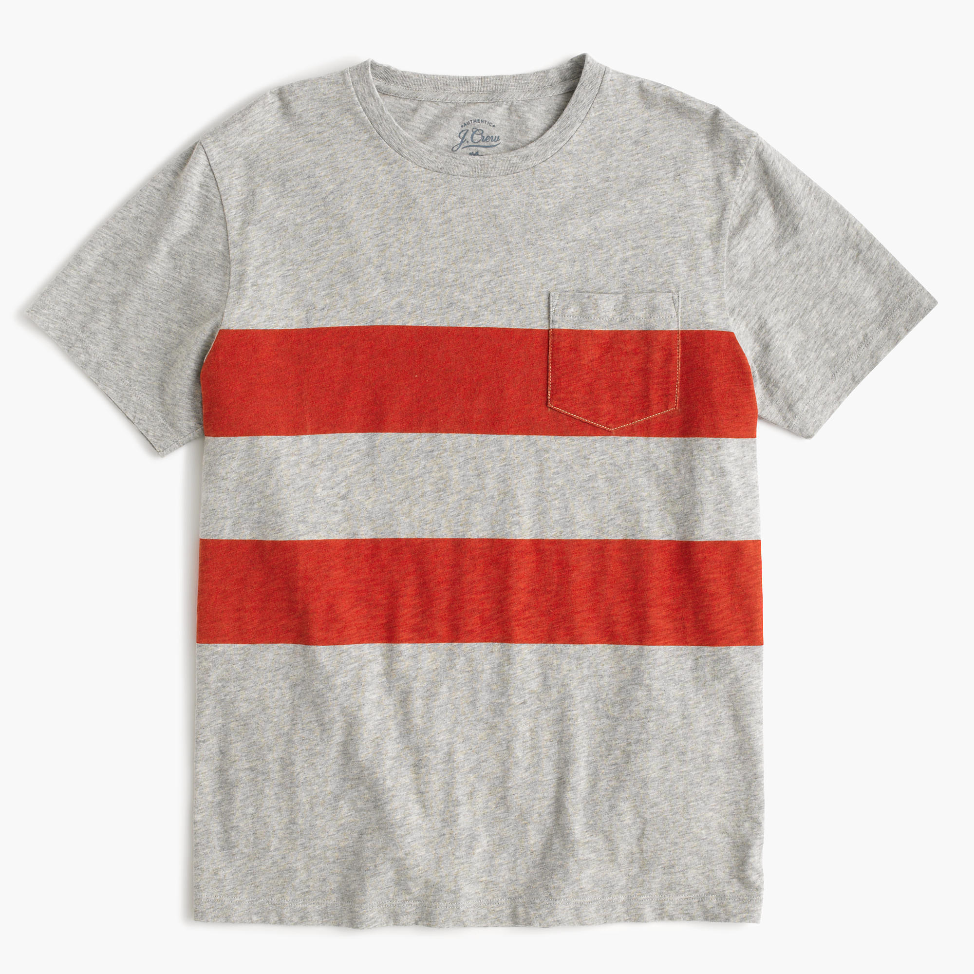 Textured pocket t shirt in printed stripe in red for Pocket t shirt printing