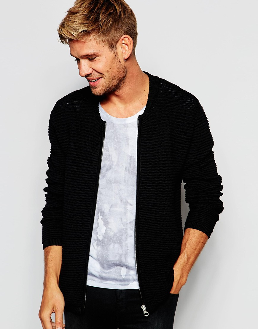 67c0191c0c Lyst - Pepe Jeans Pepe Knit Bomber Jacket Persico Heavy Rib in Black ...