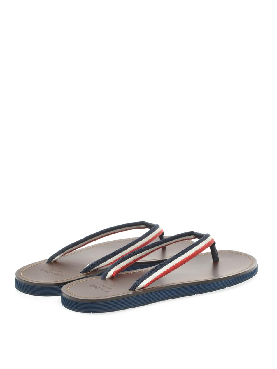 Moncler Ribbon And Leather Flipflops In Brown For Men Lyst