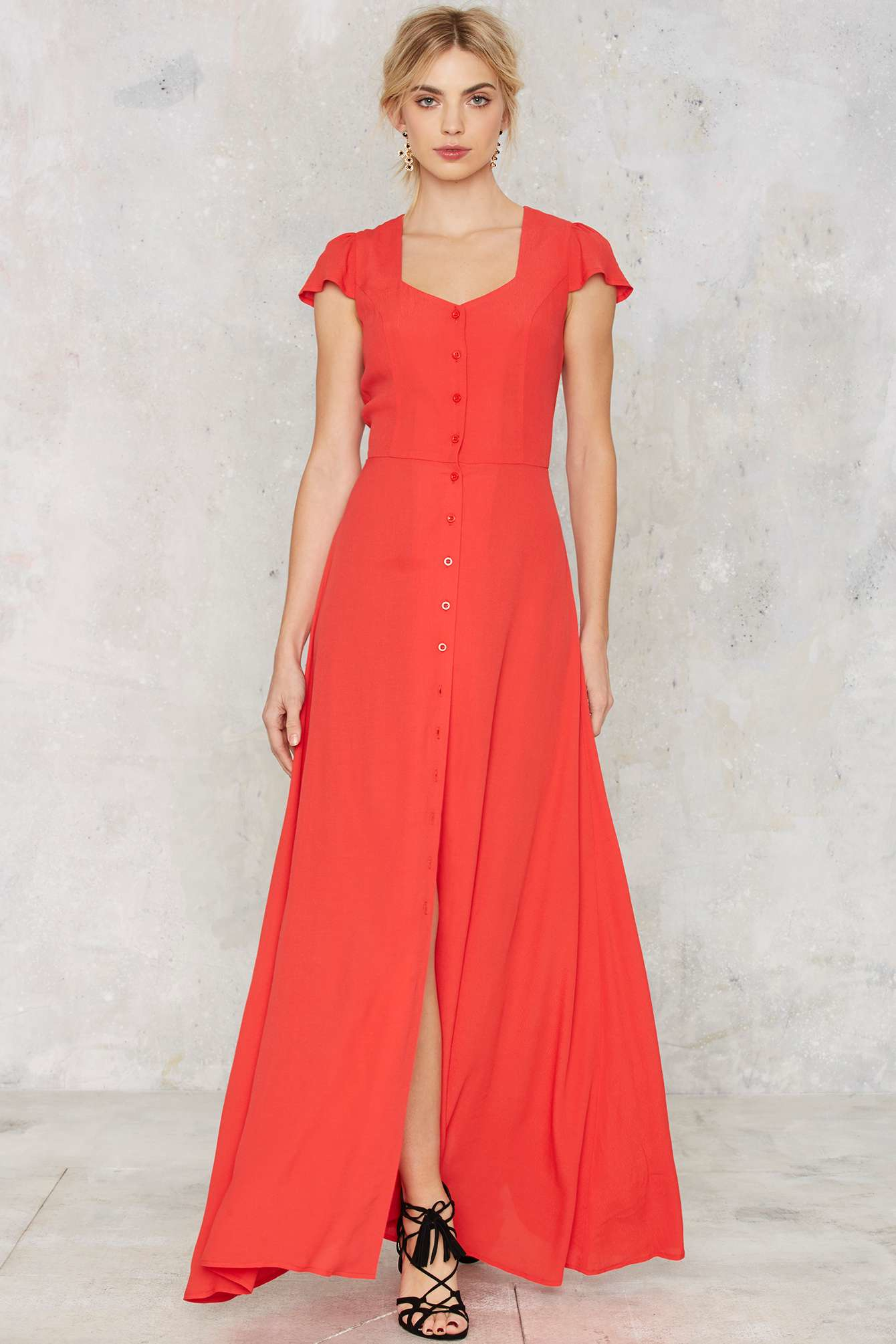 Lyst Glamorous Button Up And Drive Maxi Dress In Orange