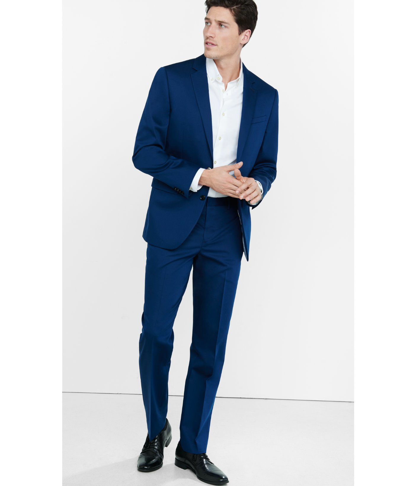 Express Photographer Cotton Sateen Navy Blue Suit Pant For Men Lyst