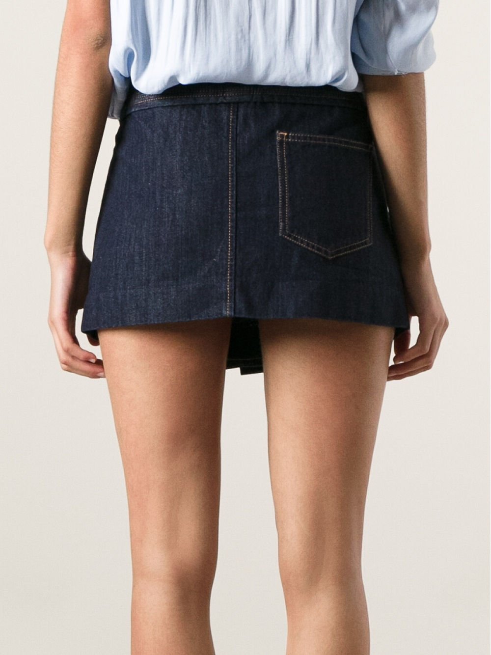 Étoile isabel marant Pleated Denim Mini Skirt in Blue | Lyst