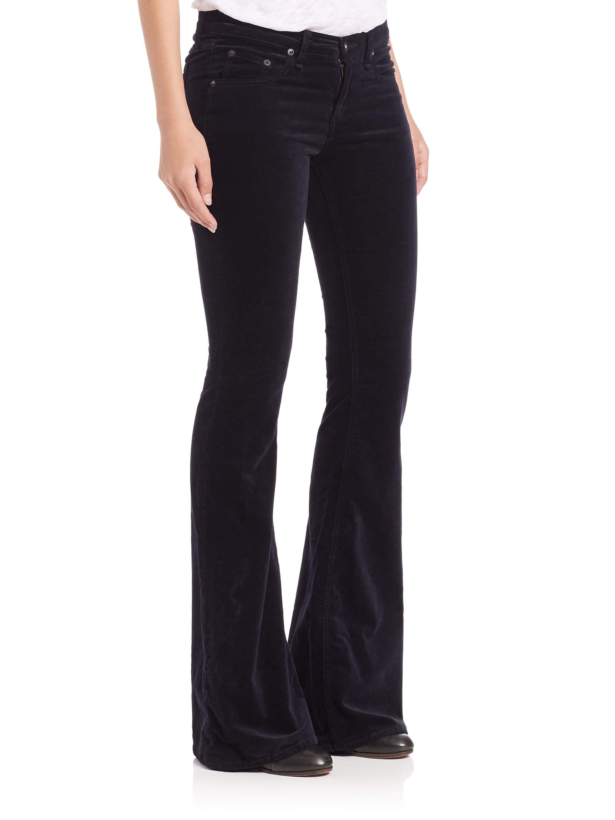 Rag Amp Bone Mid Rise Velvet Flared Jeans In Black Lyst