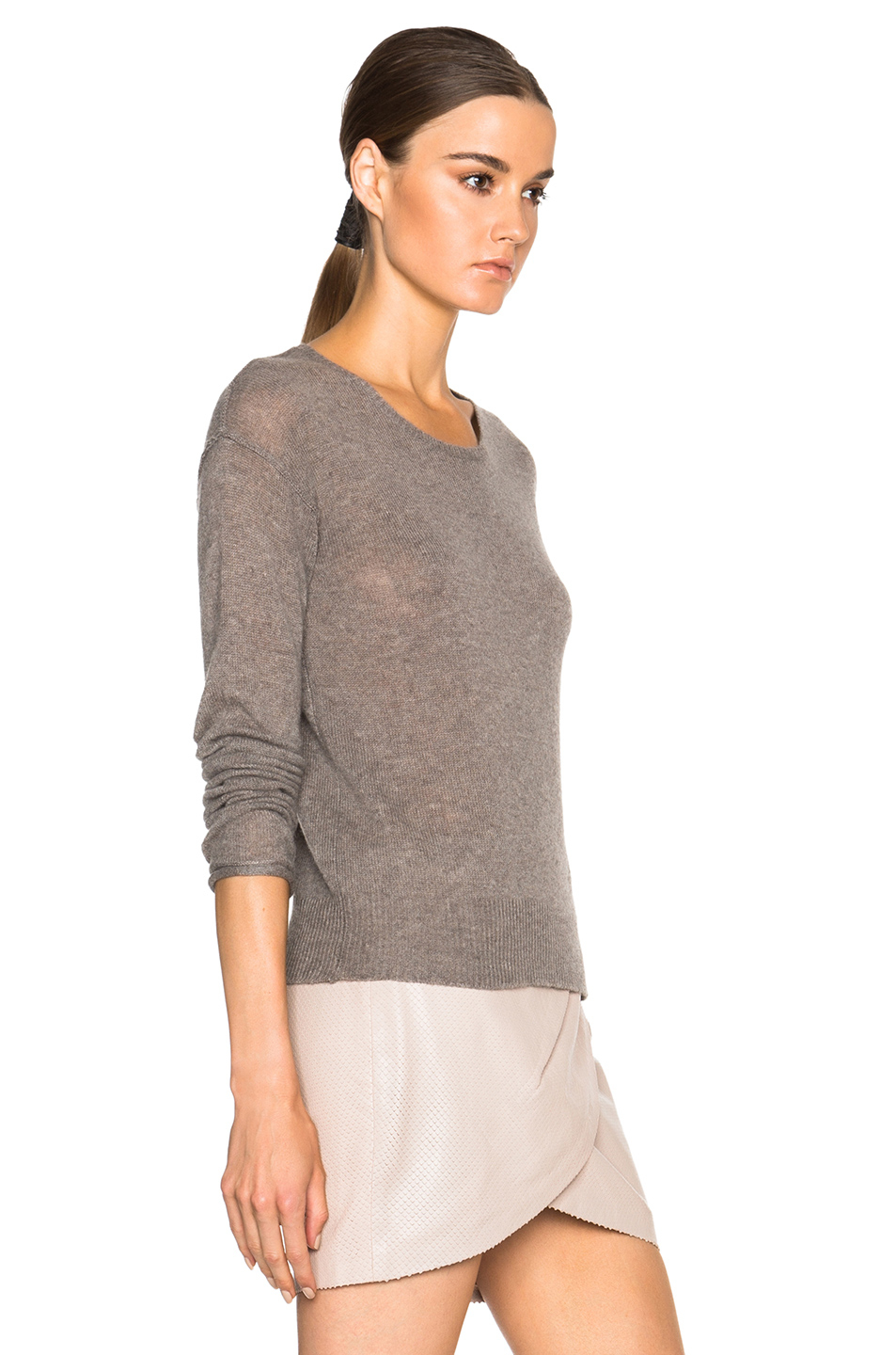 James Perse Cashmere Crewneck Sweater In Brown Lyst