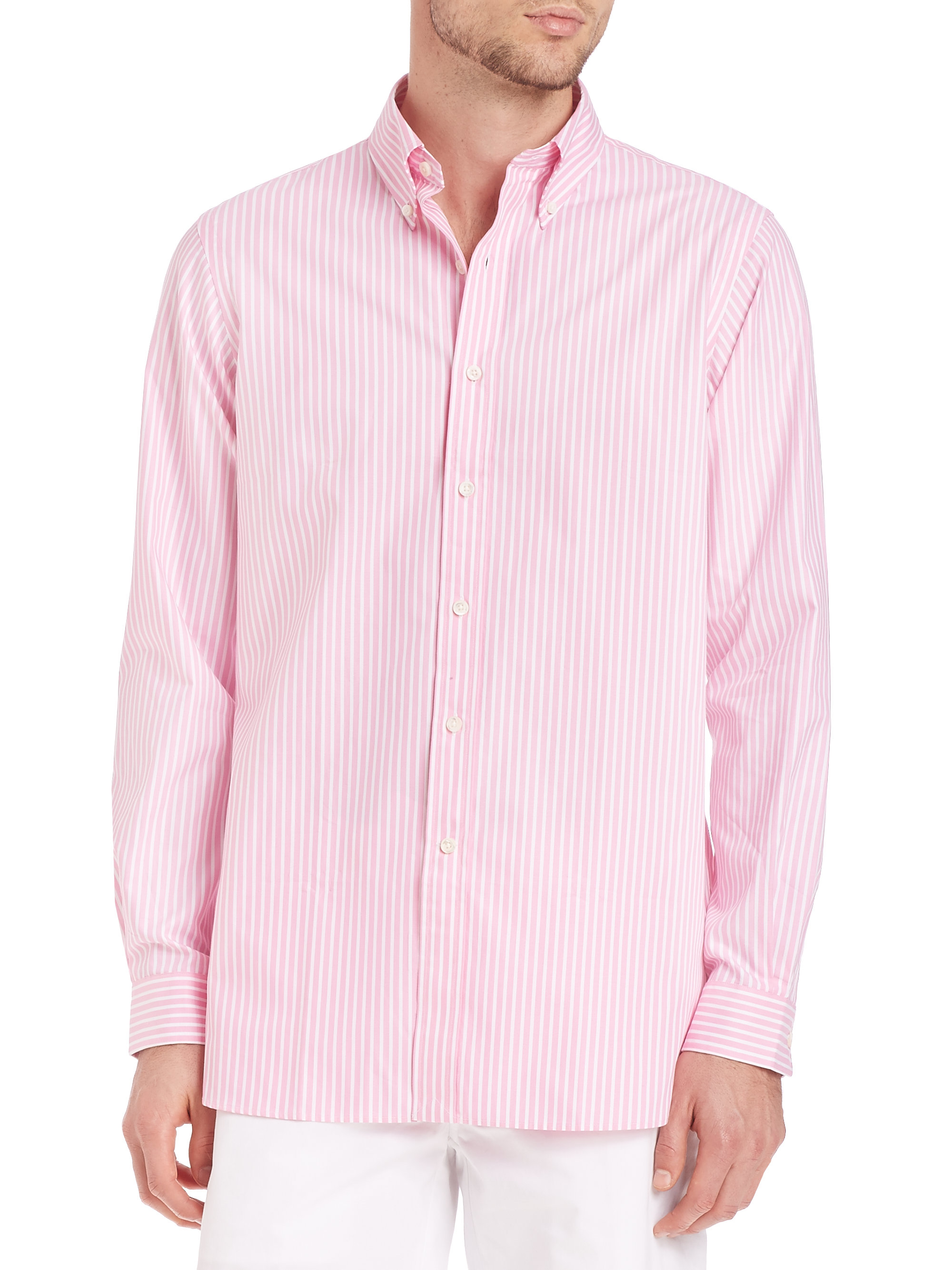 polo ralph lauren striped oxford shirt in pink for men lyst. Black Bedroom Furniture Sets. Home Design Ideas