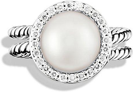 david yurman cable pearl ring with diamonds in silver