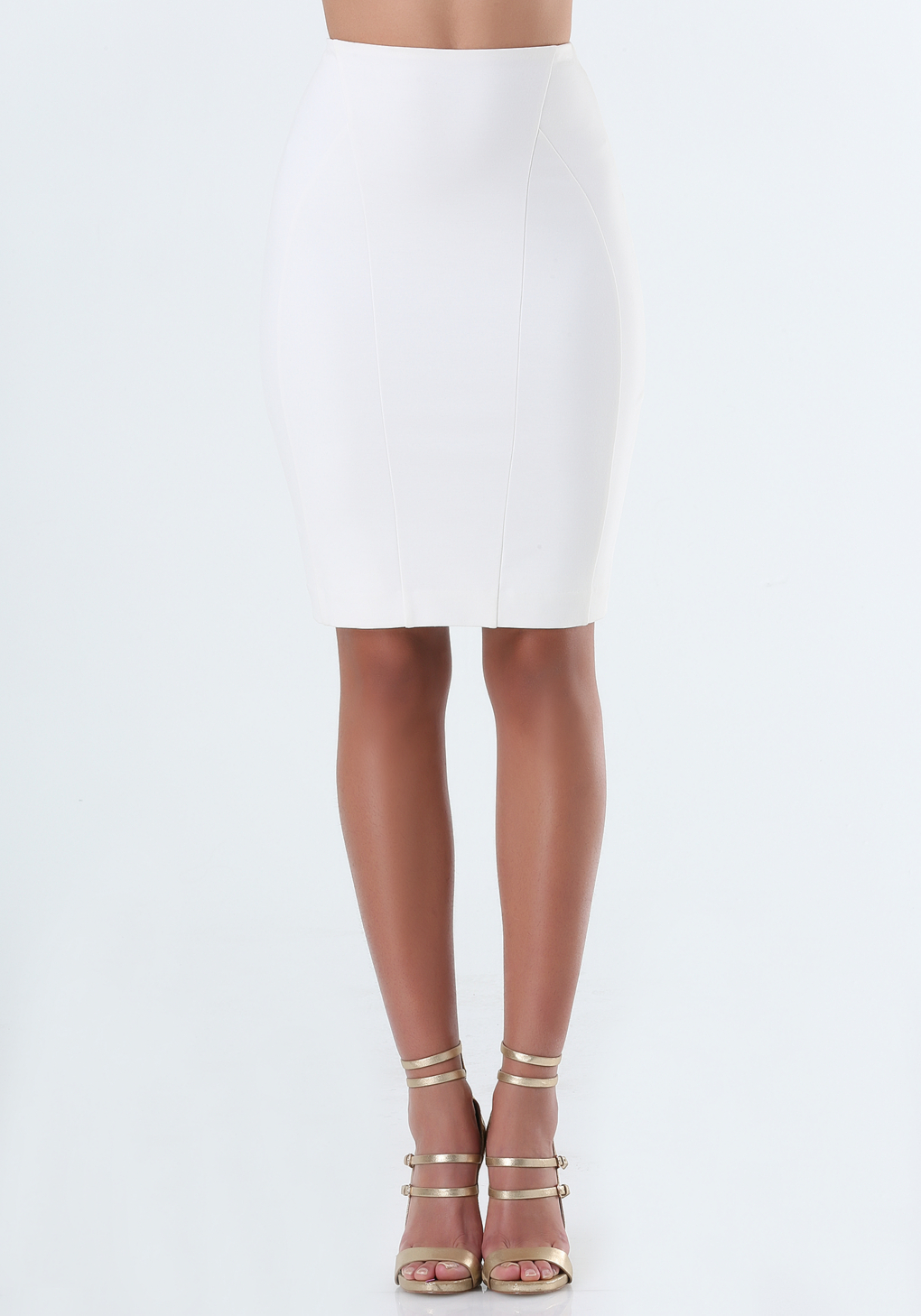 bebe seamed pencil skirt in white lyst