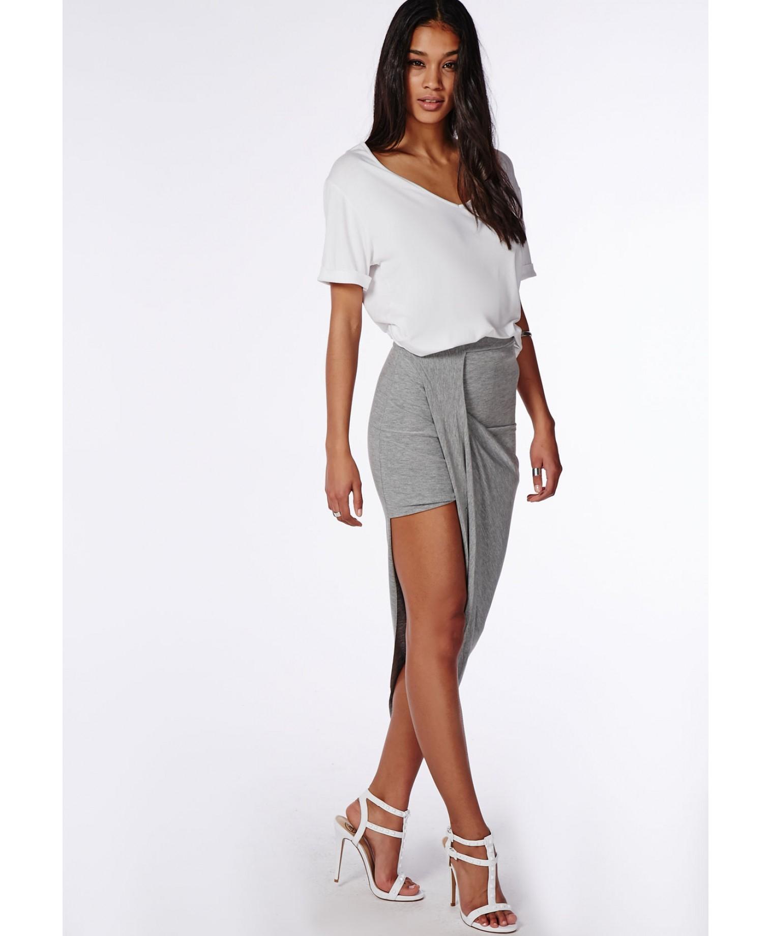 missguided draped asymmetric jersey midi skirt grey marl