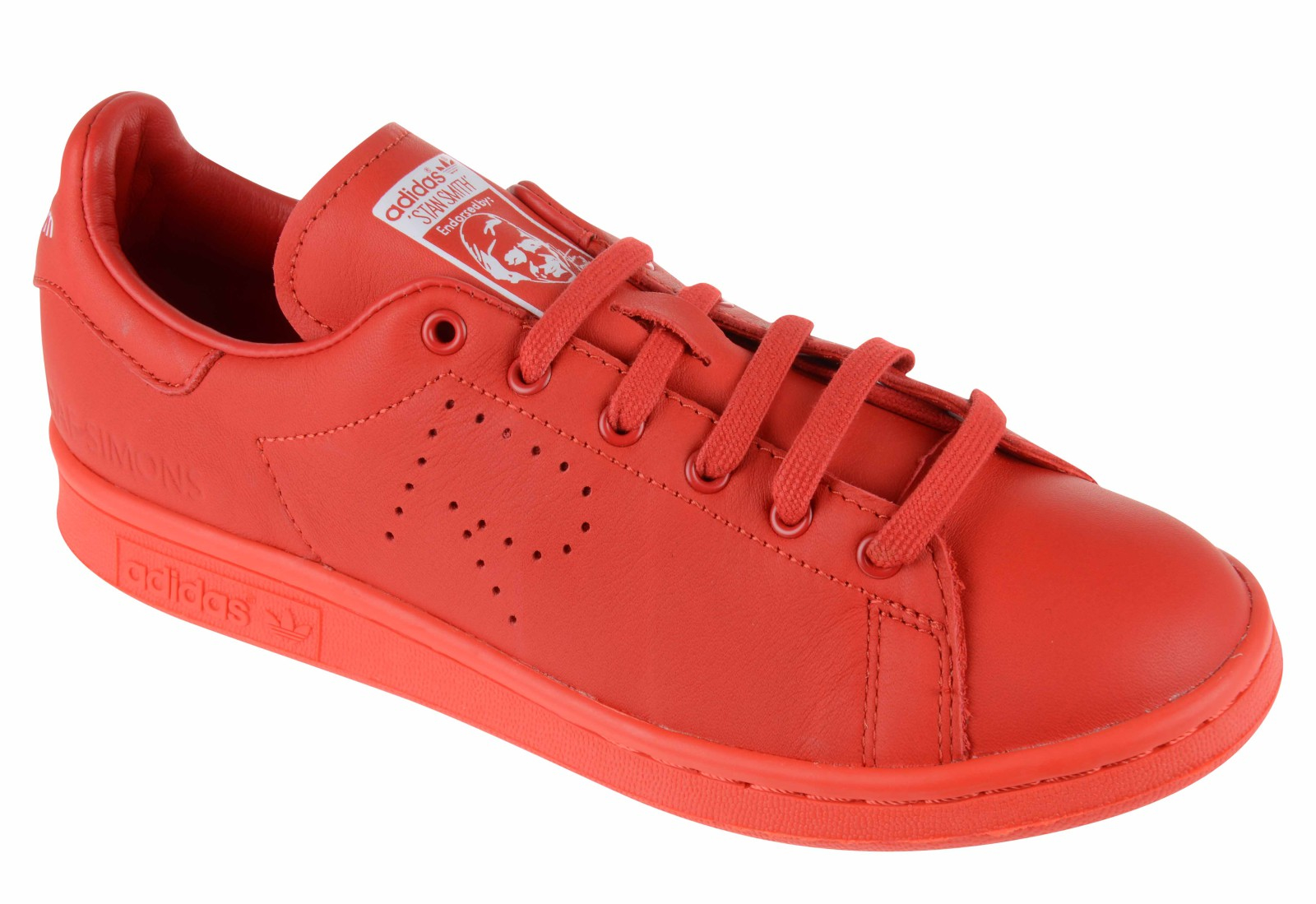 adidas by raf simons stan smith leather sneakers in red lyst. Black Bedroom Furniture Sets. Home Design Ideas