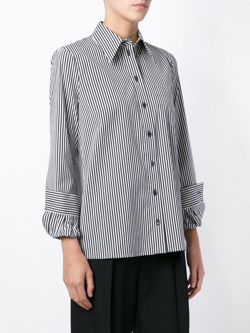 michael kors pinstripe shirt in black lyst. Black Bedroom Furniture Sets. Home Design Ideas