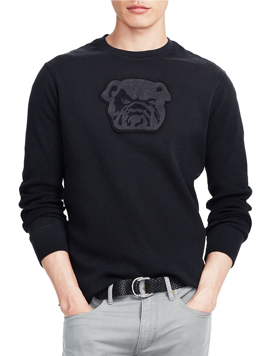 polo ralph lauren bulldog jersey pullover in black for men lyst. Black Bedroom Furniture Sets. Home Design Ideas