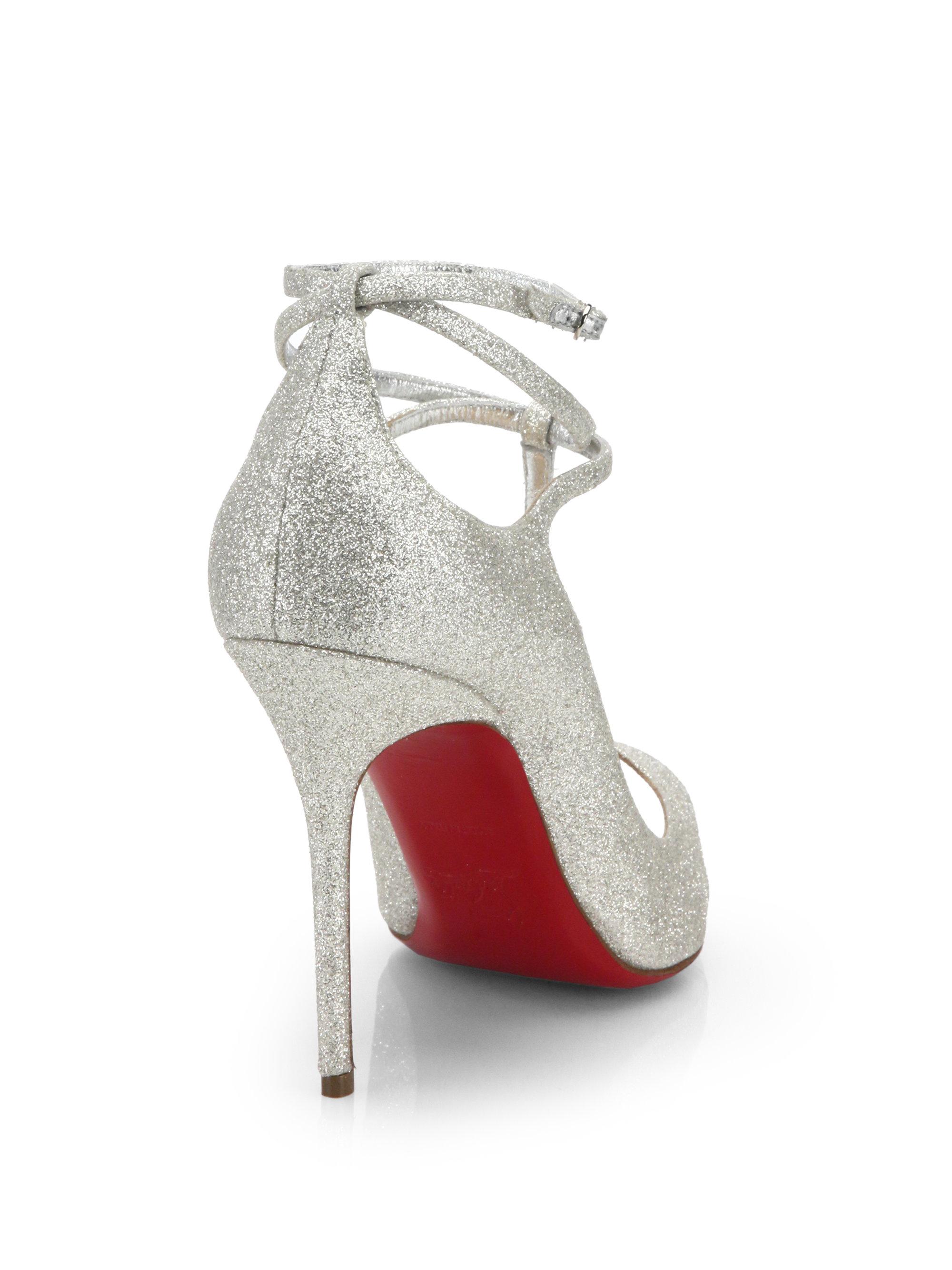Christian louboutin Talitha Glitter T-strap Pumps in Silver   Lyst