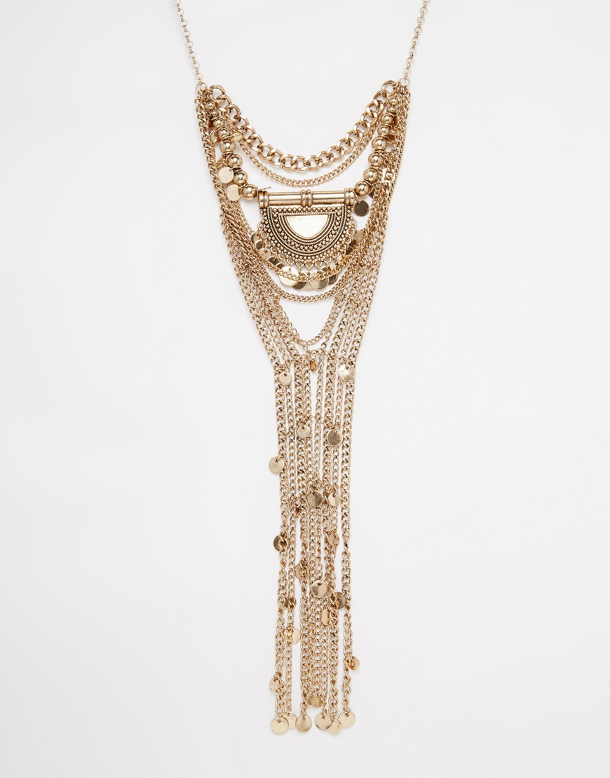 aldo concordia coin statement necklace in metallic lyst