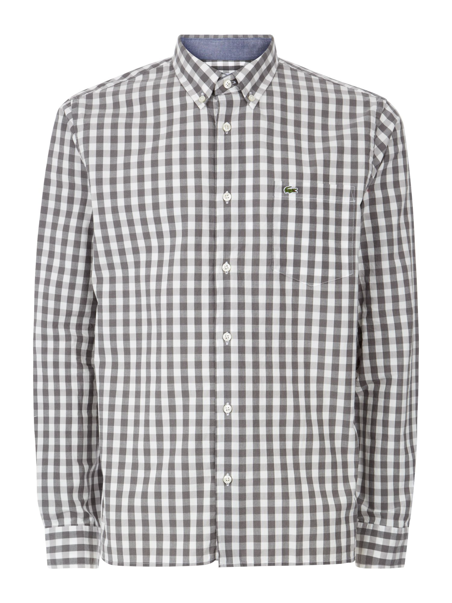 lacoste large gingham check shirt in gray for men lyst