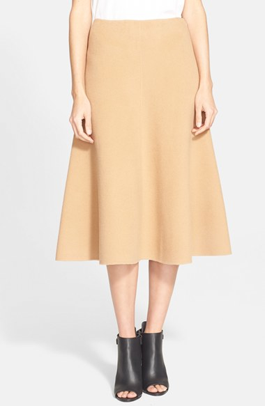 Theory Wool & Cashmere A-Line Skirt in Natural | Lyst