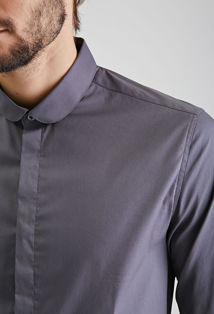 Forever 21 round collar button down shirt in gray for men for Round collar shirt men