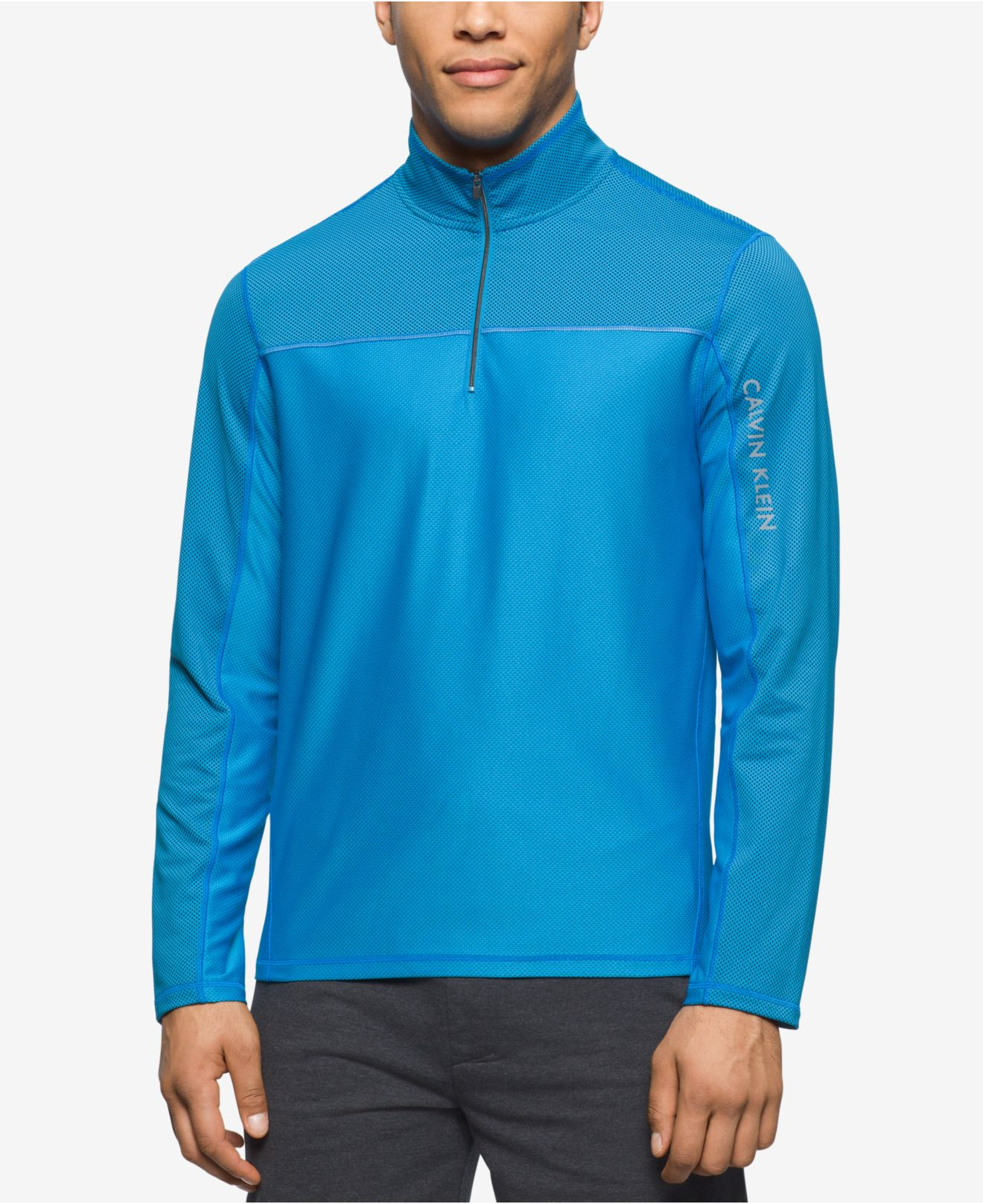 calvin klein performance men 39 s quarter zip pullover in blue for men lyst. Black Bedroom Furniture Sets. Home Design Ideas
