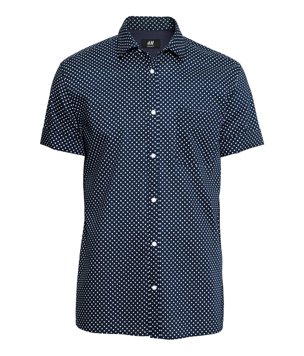 H&m Shirt In Premium Cotton in Blue for Men | Lyst