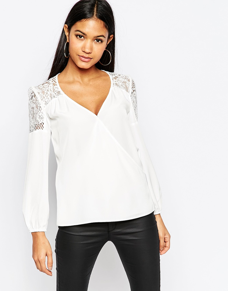 Lyst - Lipsy Lace Insert Wrap Top in White