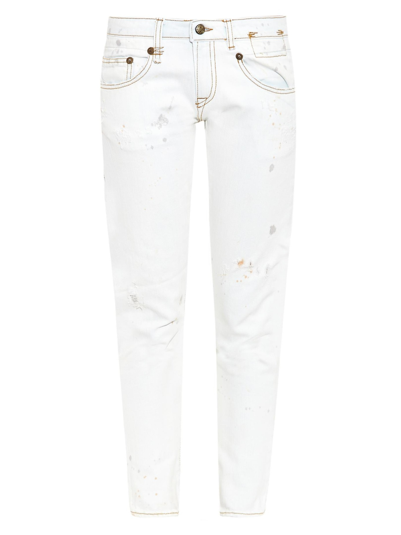 R13 Boy Skinny Low-rise Bleached Jeans in White | Lyst
