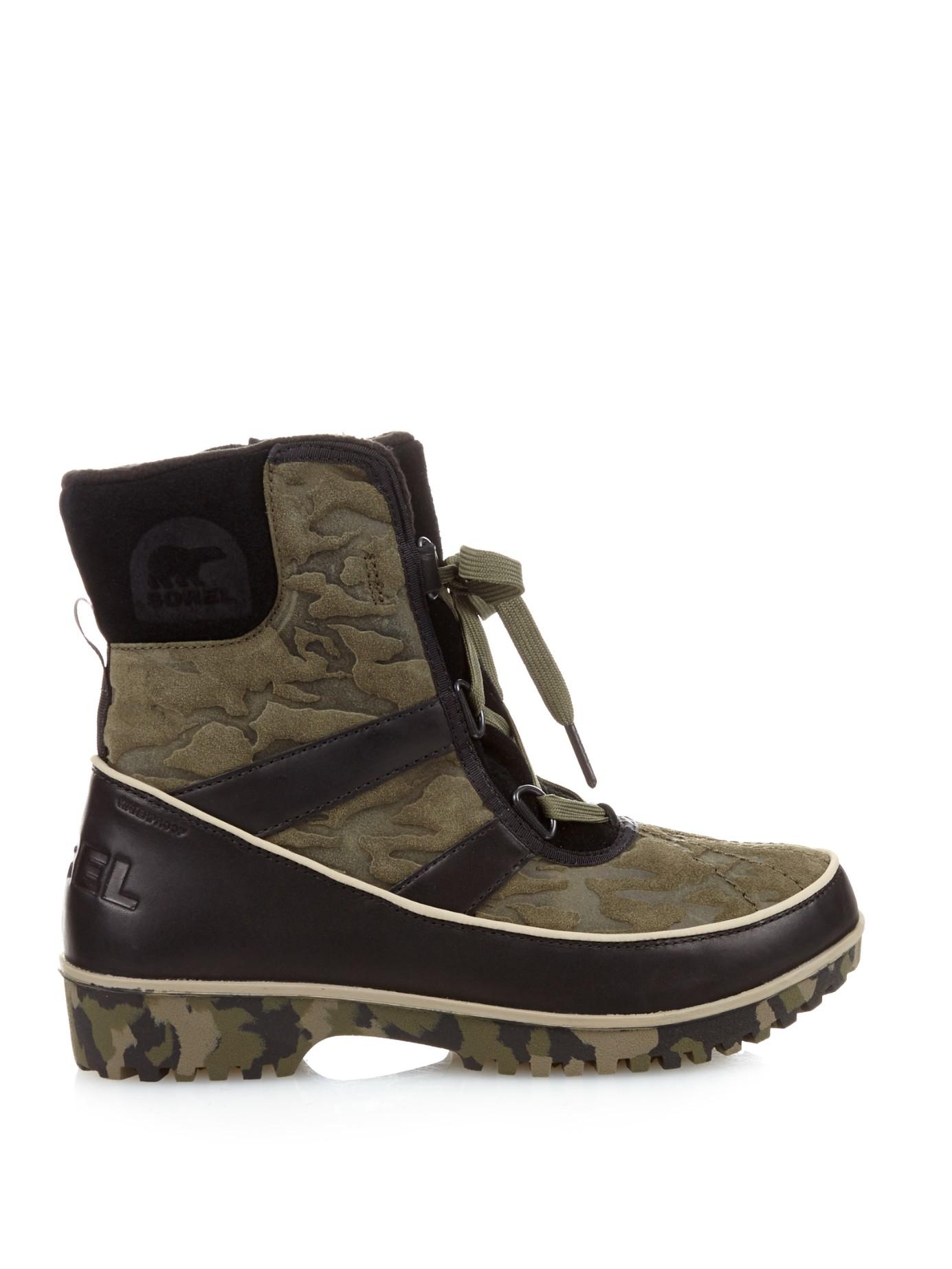 sorel tivoli ii embossed suede ankle boots in green lyst