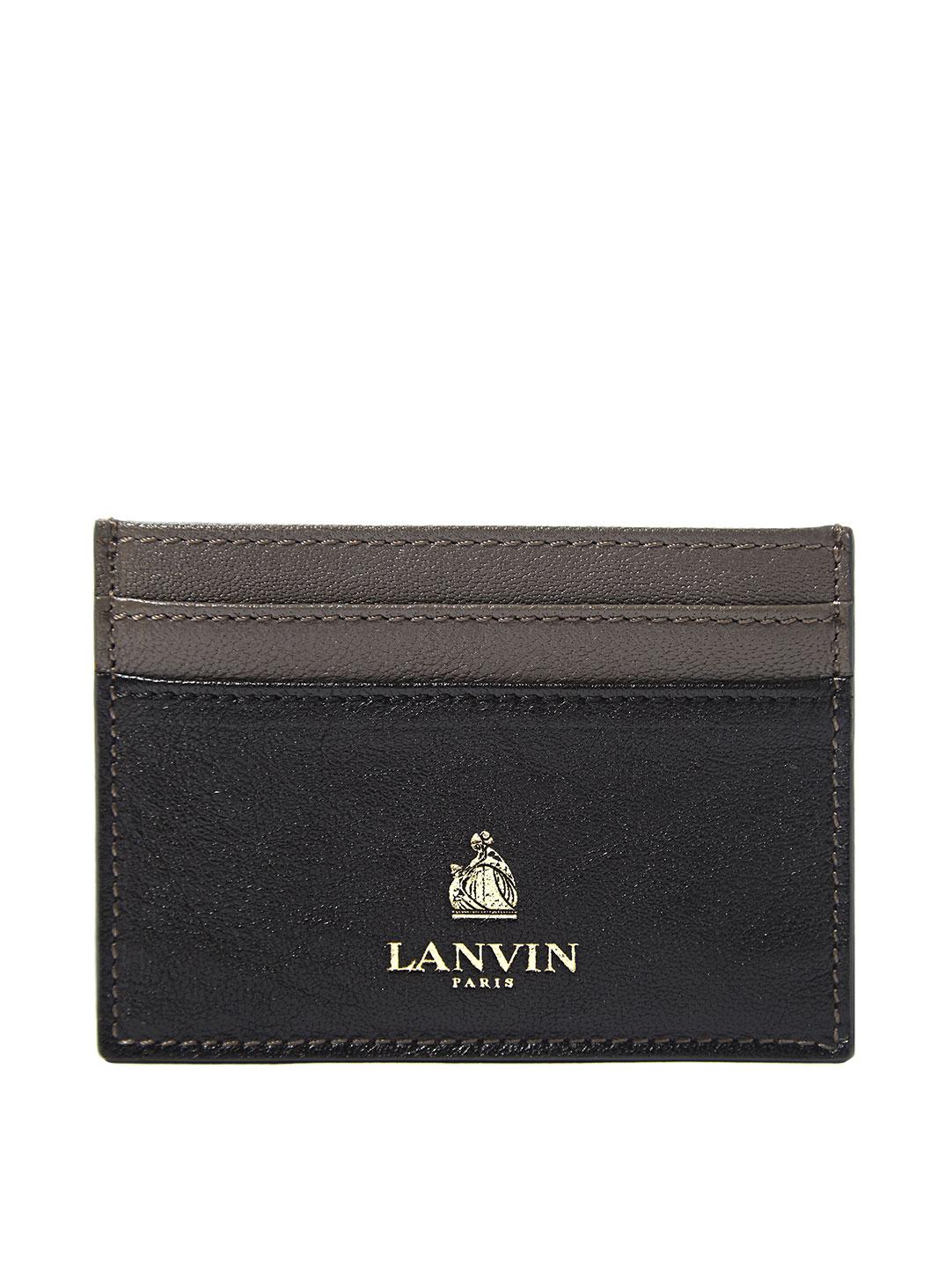 LANVIN Paris Blue Lambskin Leather Small Card Case Holder Wallet Authentic
