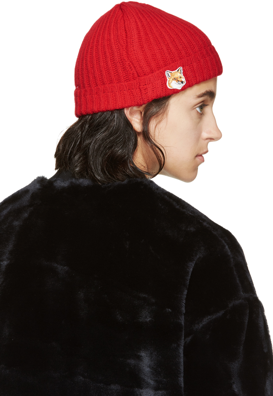 6d53686d225 Lyst - Maison Kitsuné Red Fox Beanie in Red