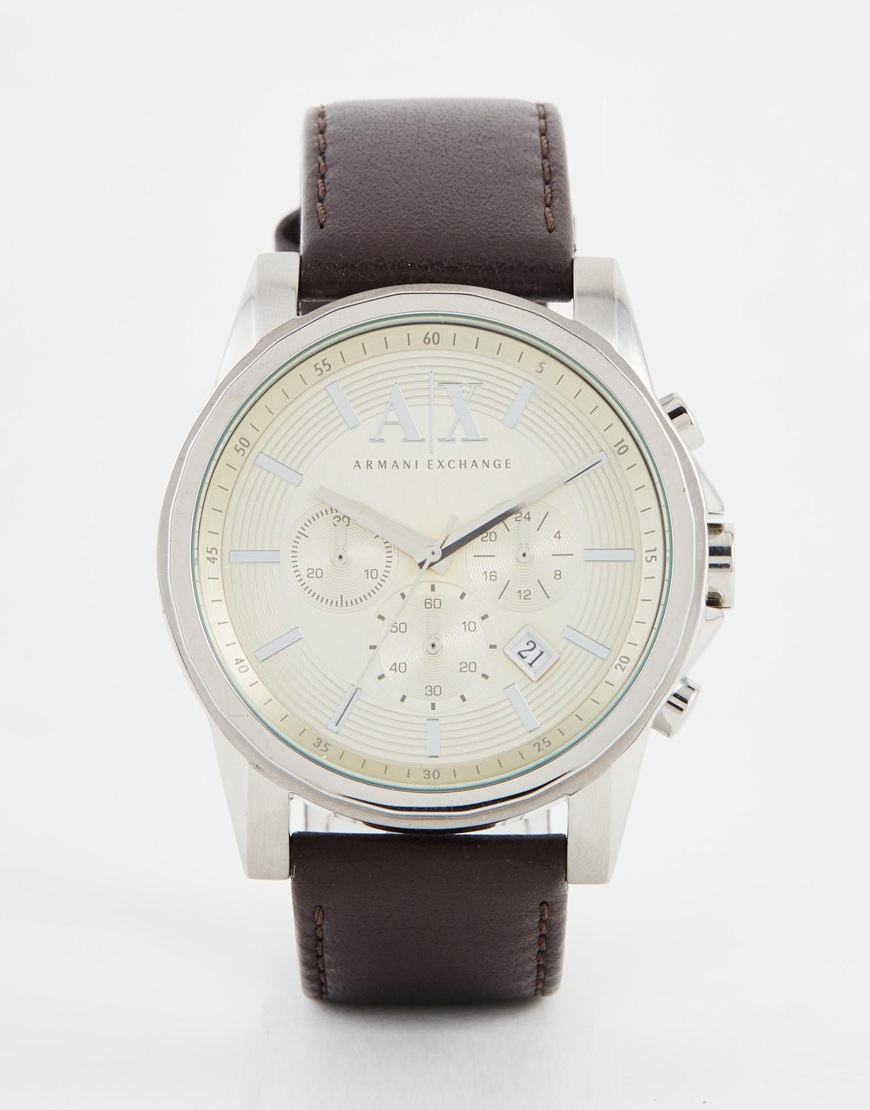 Armani Exchange Outerbanks Chronograph Watch With Leather