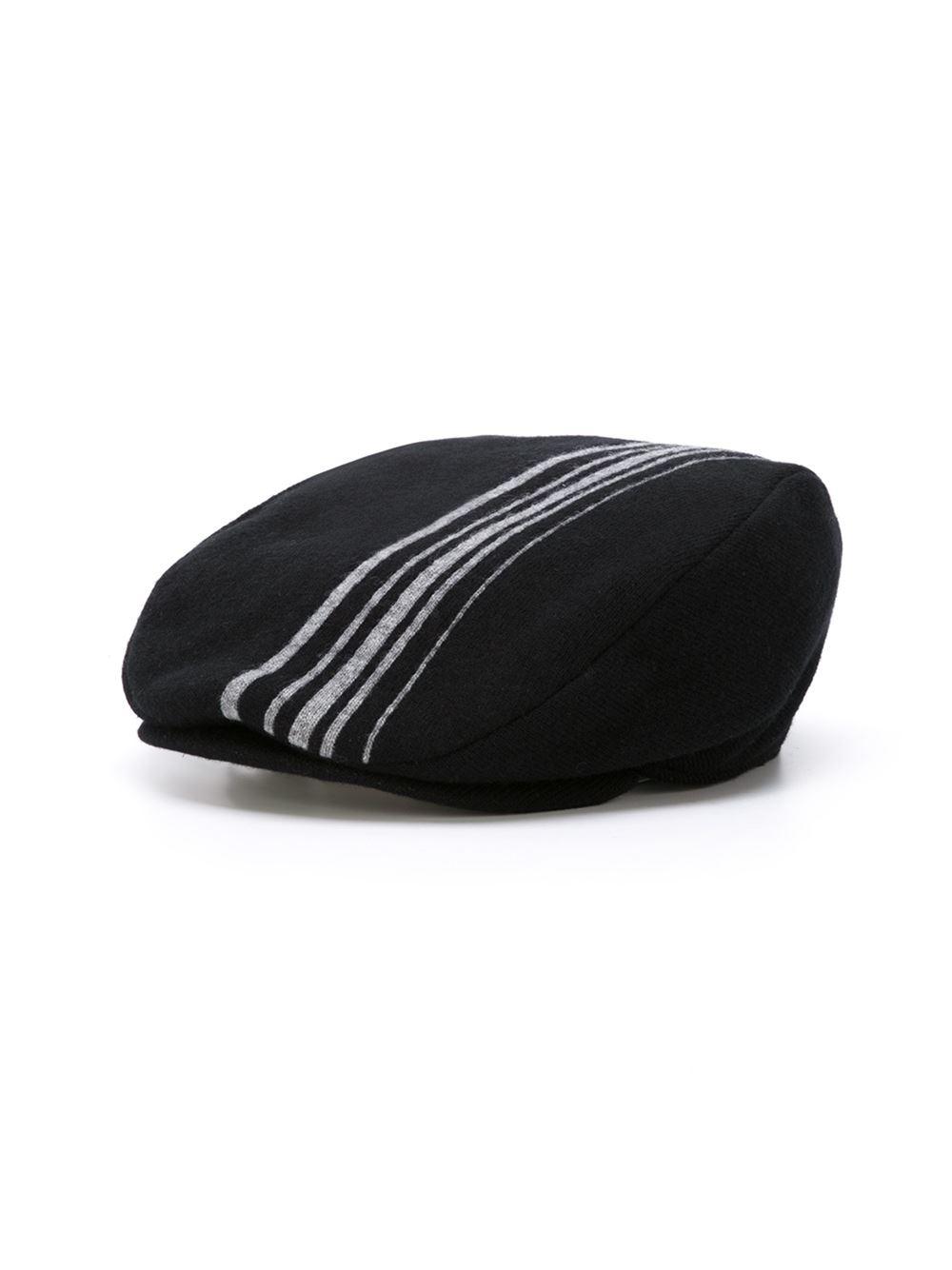 bf06c44953f Lyst - Comme des Garçons Striped Flat Cap in Black for Men