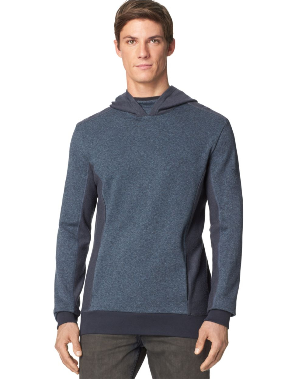 calvin klein jeans french terry hoodie in blue for men lyst. Black Bedroom Furniture Sets. Home Design Ideas