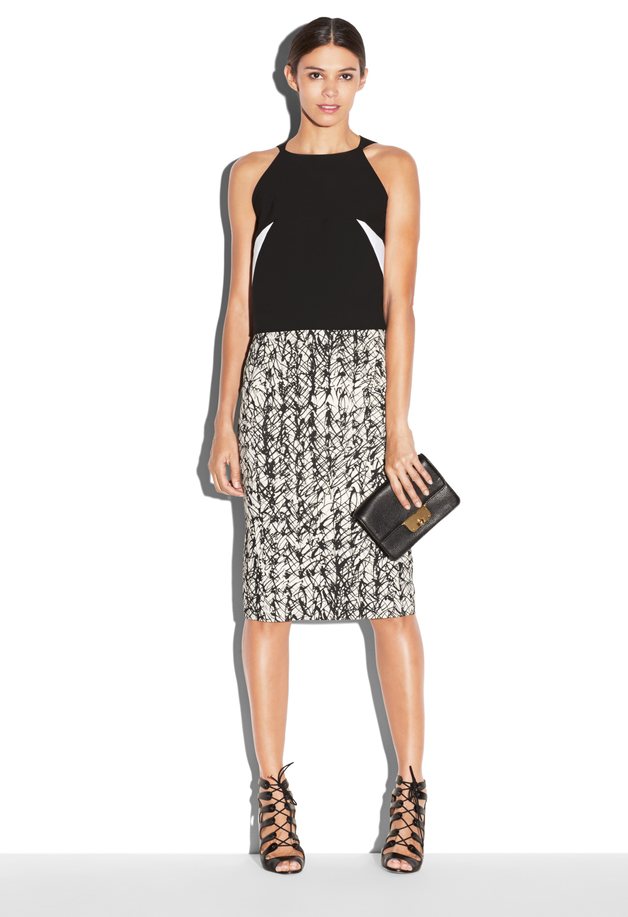 Milly Scribble Print Cady Midi Pencil Skirt in Black | Lyst