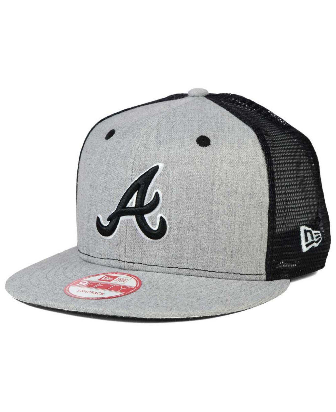 the latest 384d4 5efeb KTZ Atlanta Braves Heather Trucker 9fifty Snapback Cap in Gray for ...