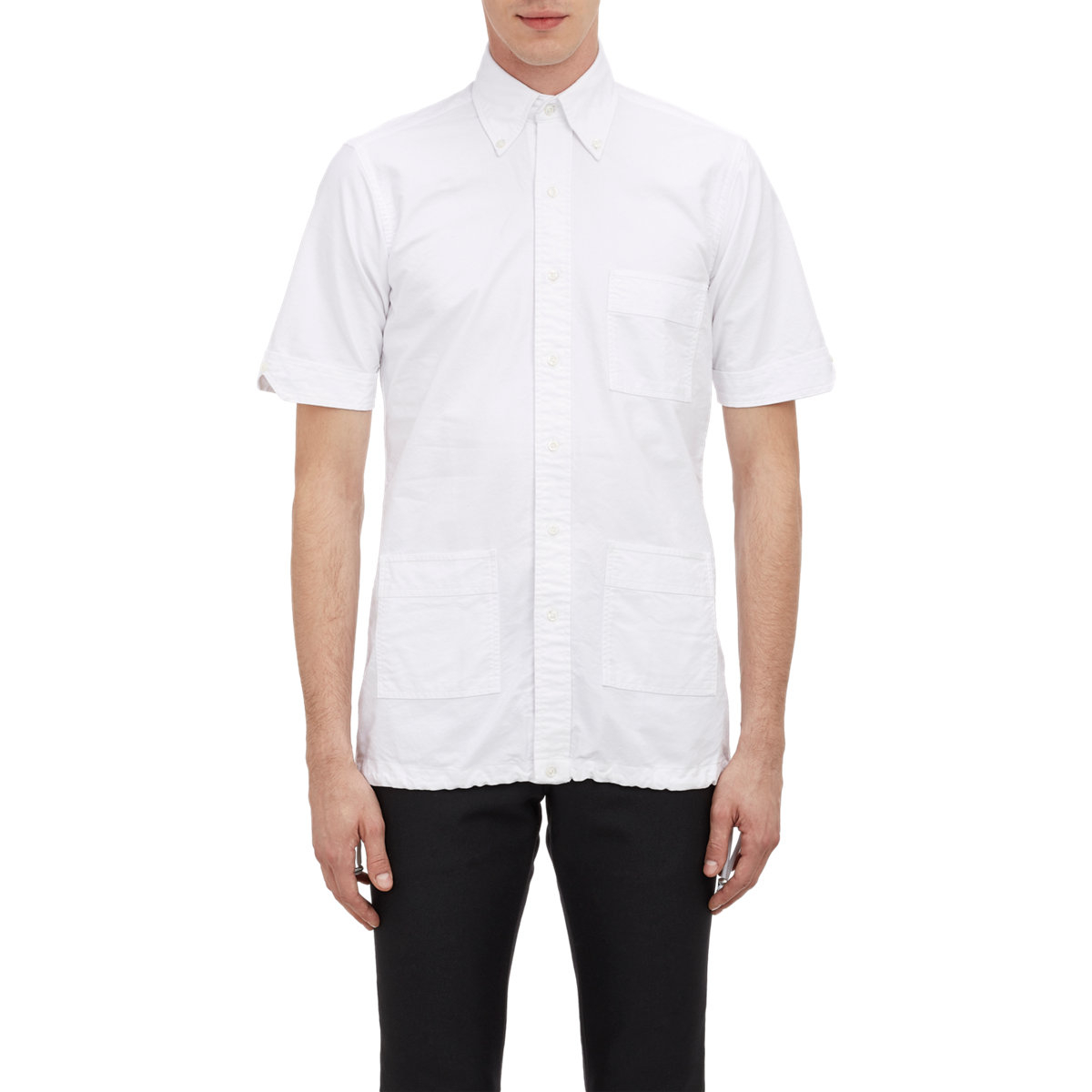 Thom Browne Drawcord Bottom Oxford Shirt In White For Men
