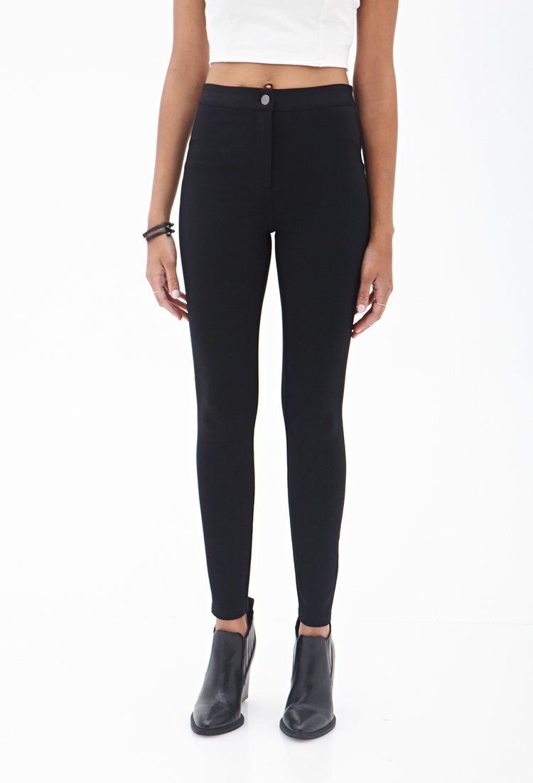 Lyst Forever 21 Stretch Knit Pants In Black