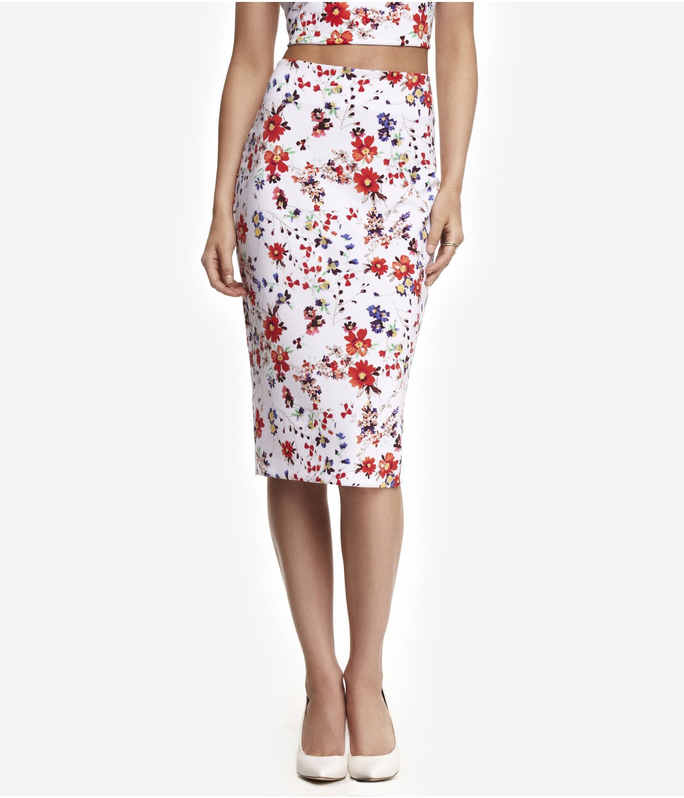 express high waist white floral midi pencil skirt in