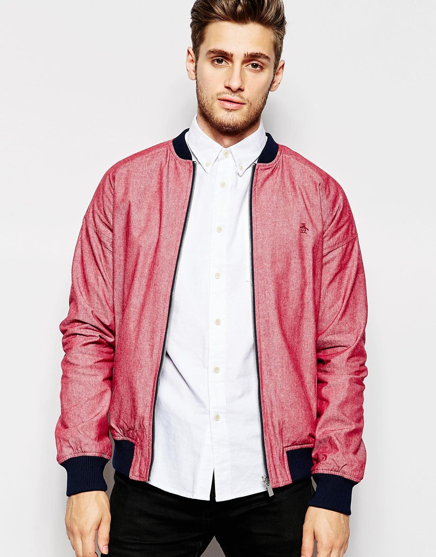 Mens red bomber jacket – Modern fashion jacket photo blog