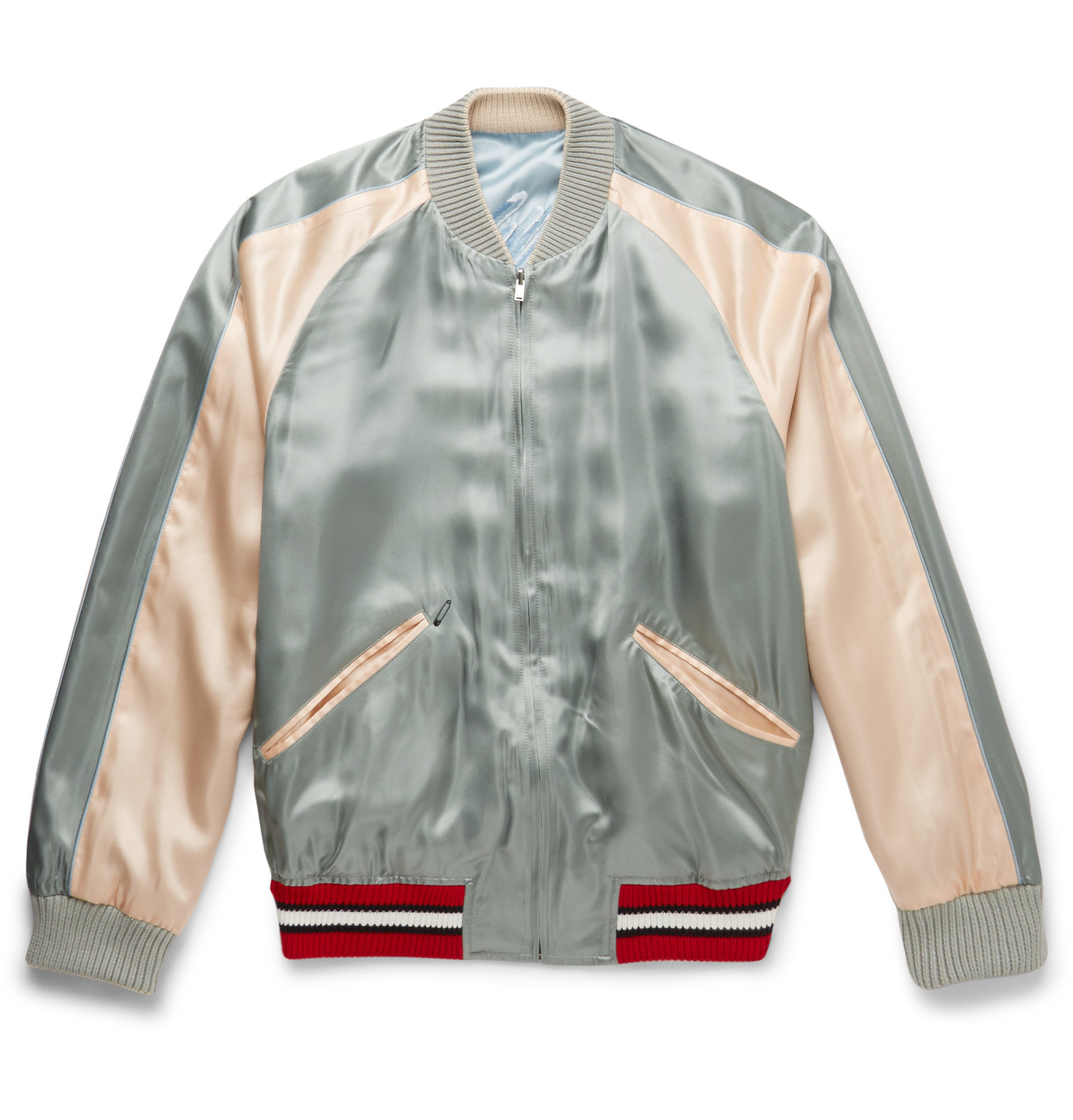 Gucci Reversible Embroidered Satin Bomber Jacket In Blue