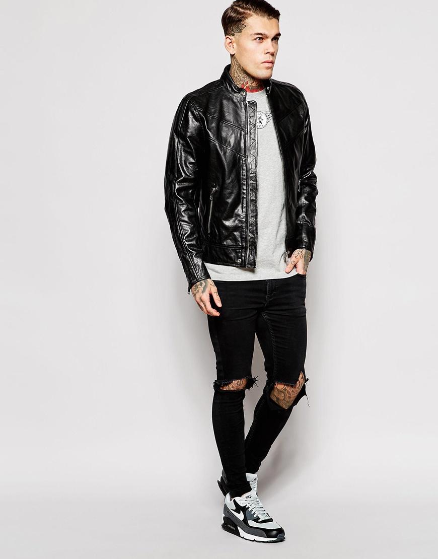 Diesel Leather Jacket L-reed Chevron Biker in Black for Men | Lyst