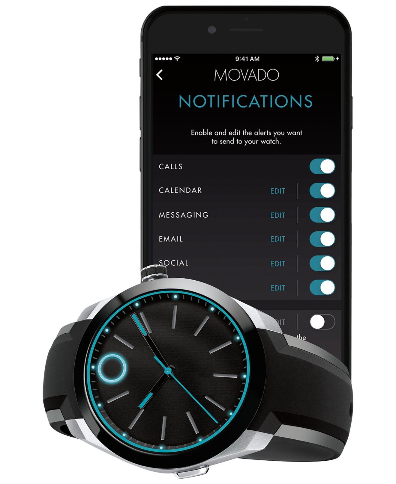 Movado Men S Bold Motion Black Silicone Strap Smartwatch 44mm 3660001 For Men
