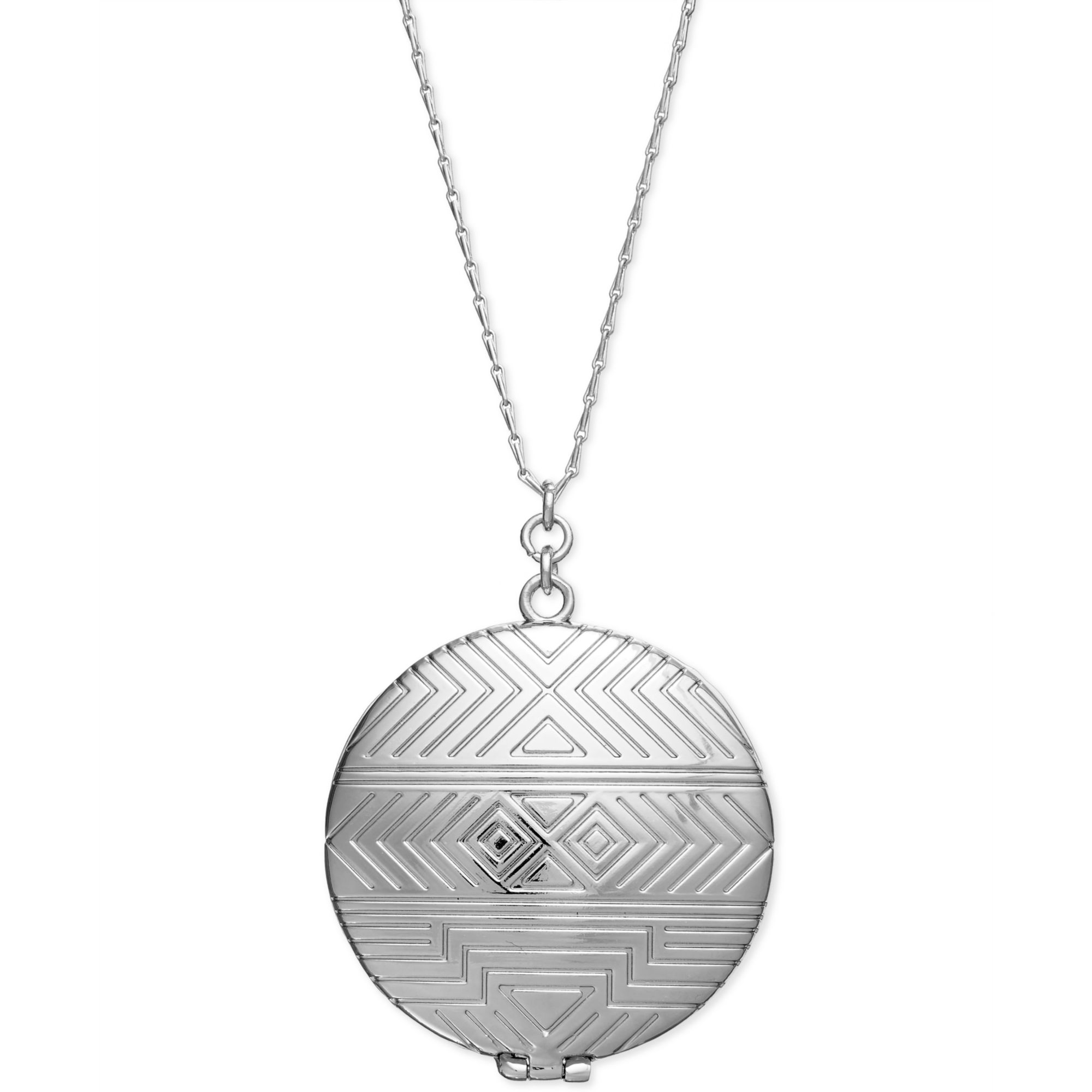 house of harlow 1960 silver tone tribal locket necklace in