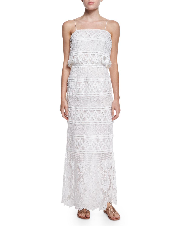 Crochet Maxi Dress : Miguelina Rylan Geometric-print Crochet Maxi Dress in White Lyst