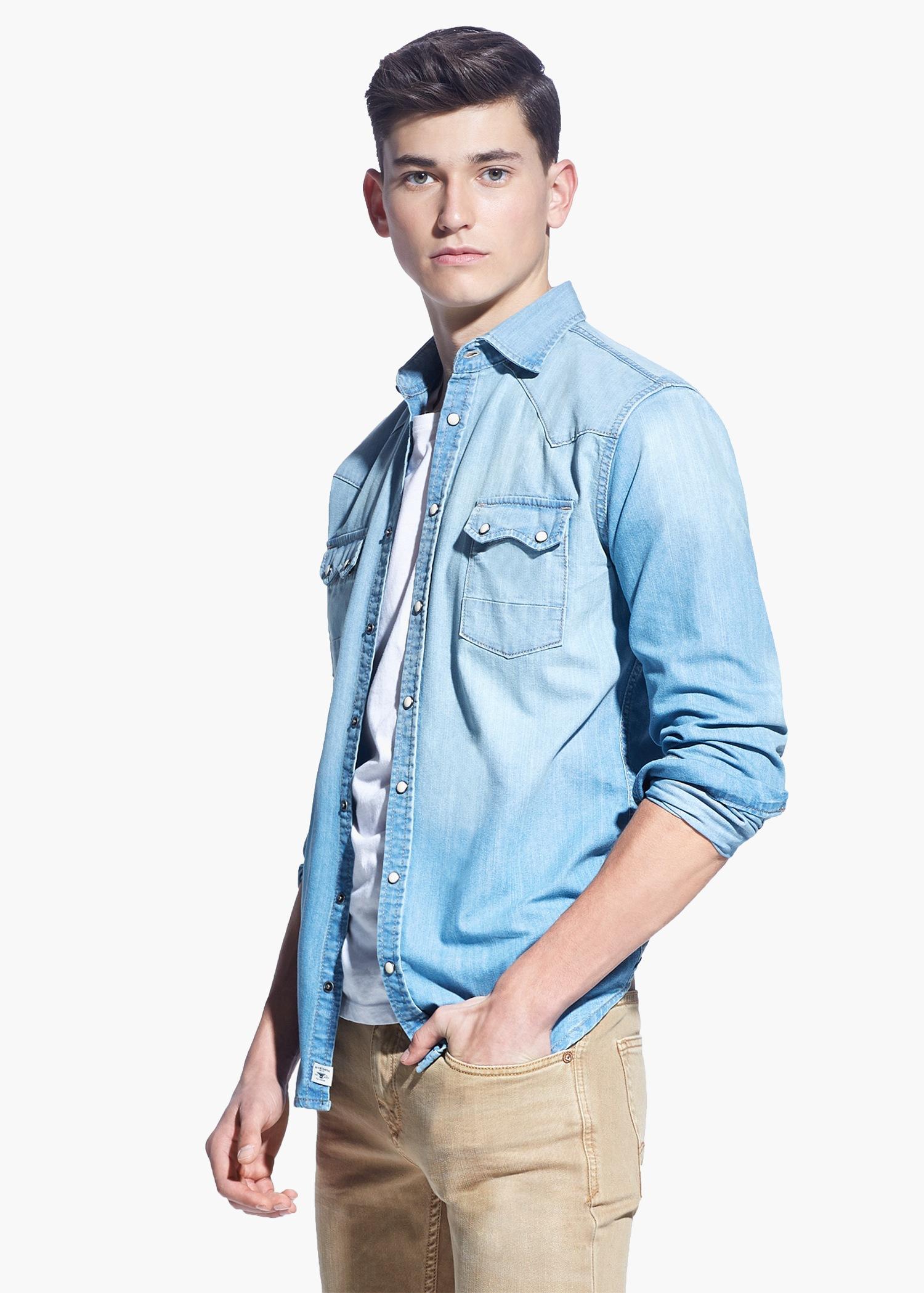 Mango Slim-Fit Light Wash Denim Shirt in Blue for Men | Lyst